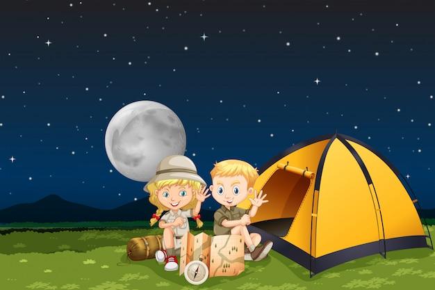 Crianças, acampamento, à noite