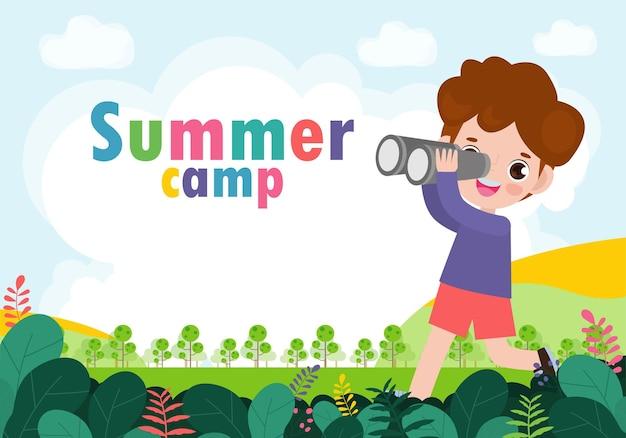 Crianças acampamento de verão fundo educação banner modelo