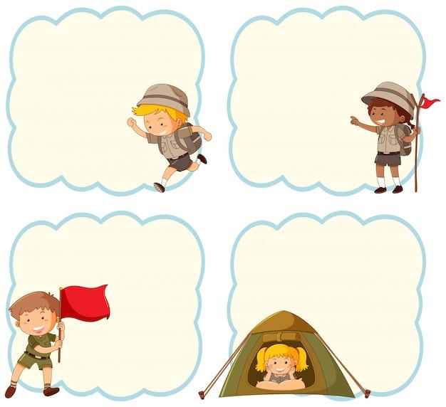 Crianças acampando banner em branco