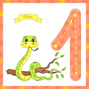 Crianças adoráveis flash número um traço com uma cobra para crianças aprendendo a contar e escrever.