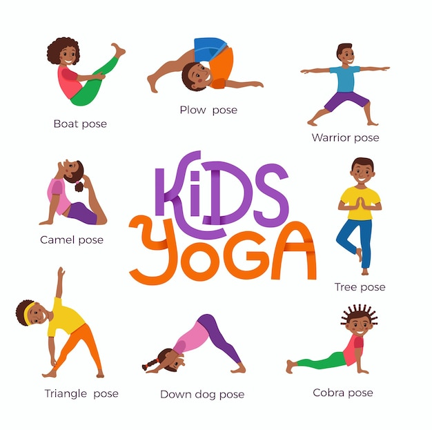 Crianças africanas felizes em diferentes poses de ioga