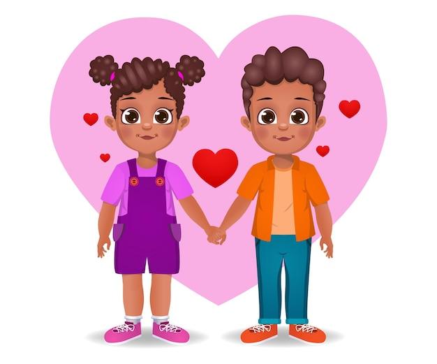 Crianças africanas fofas apaixonadas e de mãos dadas Vetor Premium