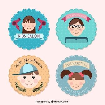 Crianças agradáveis cabeleireiro logos
