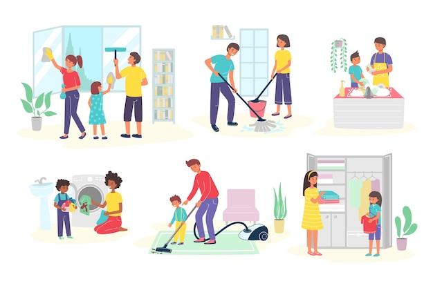 Crianças ajudam os pais nos trabalhos domésticos