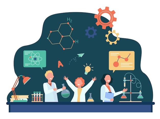 Crianças alegres, aprendendo na ilustração plana de aula de química.
