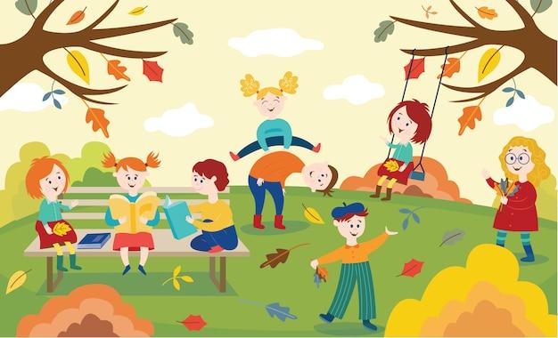 Crianças alegres brincando, pulando e lendo livros ao ar livre no outono parque ou jardim.