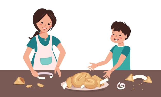 Crianças alegres comendo biscoitos da sorte chineses