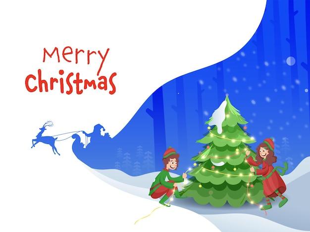 Crianças alegres decoraram a árvore de natal da iluminação guirlanda em fundo azul e branco para a celebração do feliz natal.