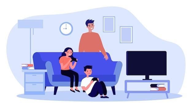 Crianças alegres jogando videogame na sala de estar