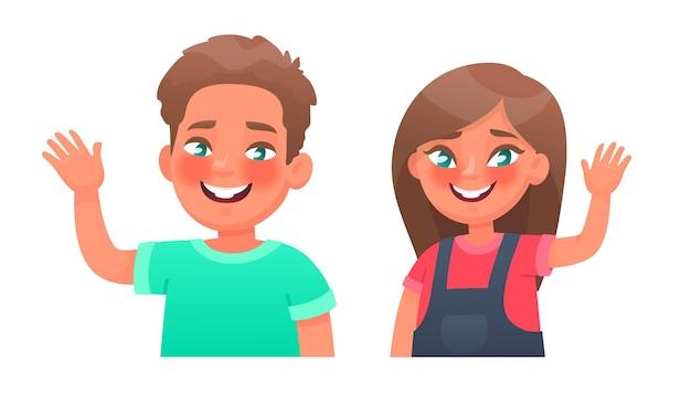 Crianças alegres. menino e menina felizes acenando com a mão e fazendo um gesto de olá