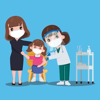 Crianças alunos recebem vacinas com o médico para se protegerem do vírus