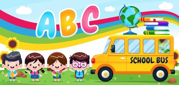 Crianças alunos vão para a escola