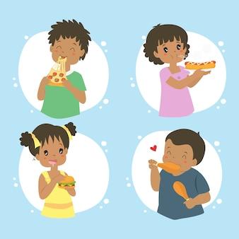 Crianças americanas africano comendo fast food, vector coleção
