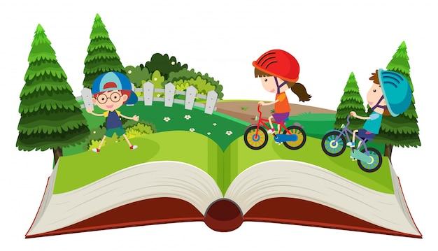 Crianças andando de bicicleta pop up livro