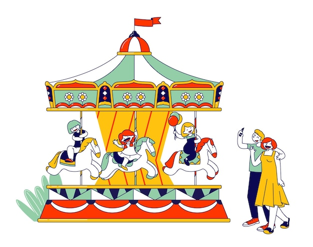 Crianças andando de carrossel no parque recreativo. ilustração plana dos desenhos animados