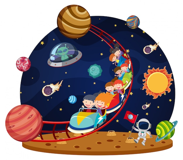 Crianças andando de montanha-russa espacial