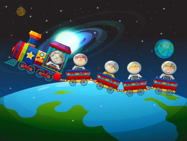 Crianças andando de trem no espaço