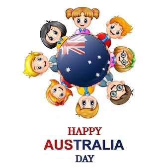 Crianças, ao redor, a, mundo, conceito, austrália, dia