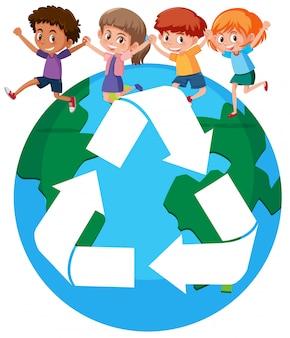 Crianças, ao redor, mundo, reciclagem, conceito