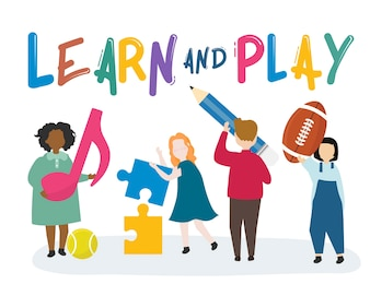 Crianças aprendendo e brincando de ilustração
