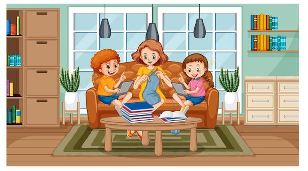 Crianças aprendendo em casa em um dispositivo eletrônico