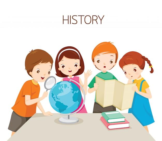 Crianças aprendendo na aula de história, estudante de volta à escola