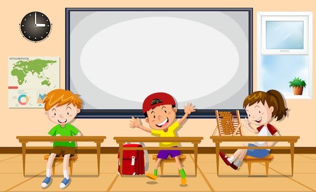 Crianças aprendendo na sala de aula