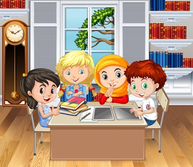 Crianças, aprendizagem, em, sala aula