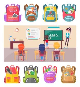 Crianças, aprendizagem, letras, em, escola, lição, com, professor