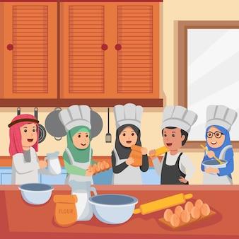 Crianças árabes em aulas de culinária, preparando-se fazendo bolo cartoon ilustração em vetor