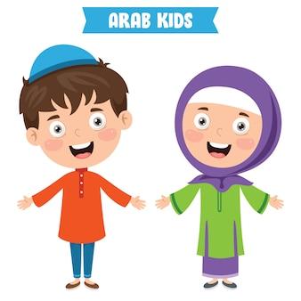 Crianças árabes vestindo roupas tradicionais