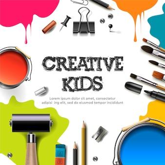 Crianças arte artesanato, educação, conceito de classe de criatividade. banner ou cartaz com fundo de papel quadrado branco, letras de mão desenhada, lápis, pincel, tintas. ilustração.