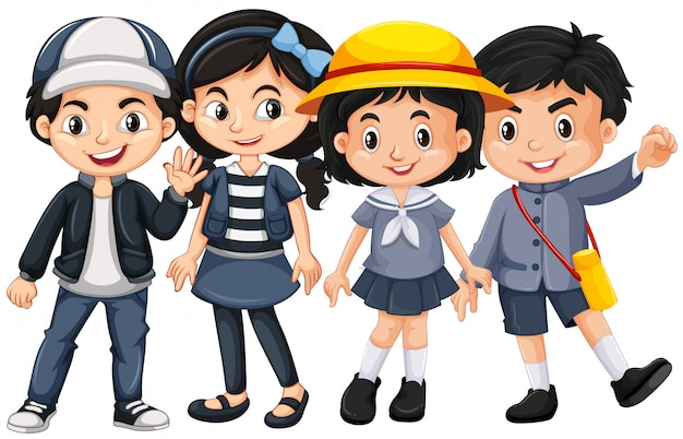 Crianças asiáticas com cara feliz