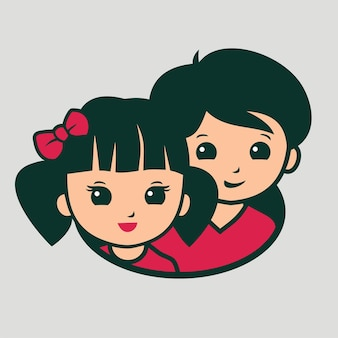 Crianças asiáticas como ilustração do logotipo de crianças fofas