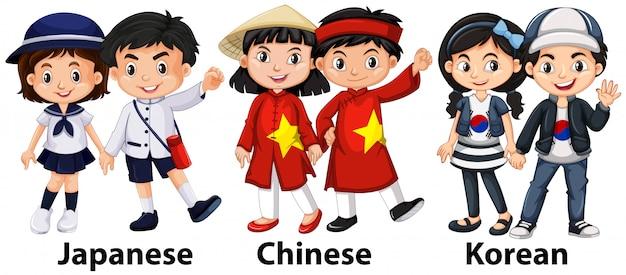Crianças asiáticas de diferentes países