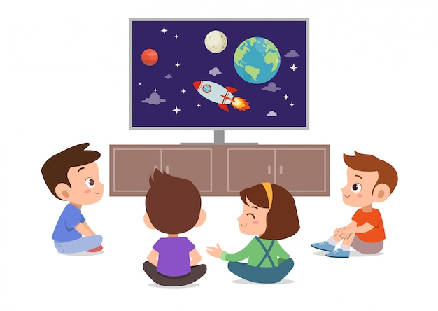 Crianças assistem televisão