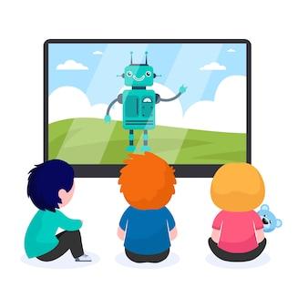 Crianças assistindo desenho animado com robô