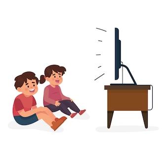 Crianças assistindo televisão