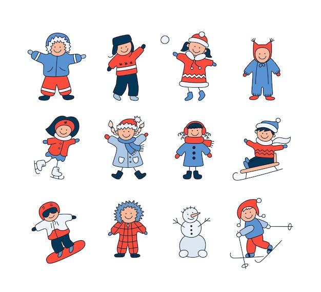 Crianças ativas no inverno. lindos filhos brincam ao ar livre com neve. conjunto de objetos vetoriais isolados de doodle em fundo branco