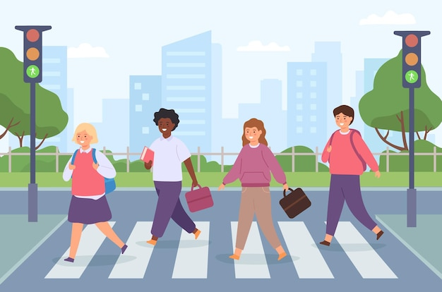Crianças atravessando a estrada. grupo de alunos na faixa de pedestres com semáforo. as crianças cruzam a zebra de pedestres no caminho para o conceito de vetor de escola. adolescentes com malas vão de uniforme para a calçada