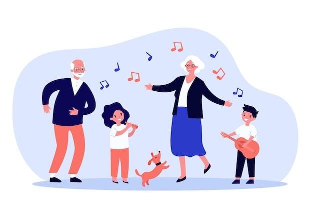 Crianças, avós e animais de estimação se divertindo com ilustrações