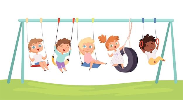 Crianças balançam. jogos engraçados de crianças passeios em personagens de atividades de fitness de corda de rasgos de carro.