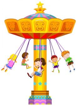 Crianças, balançando, em, círculo