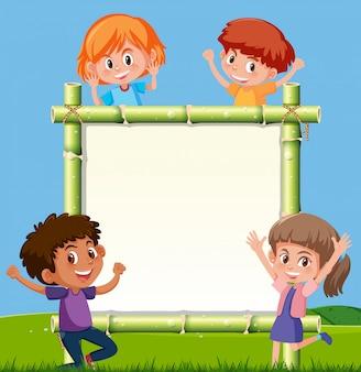 Crianças, bambu, tábua