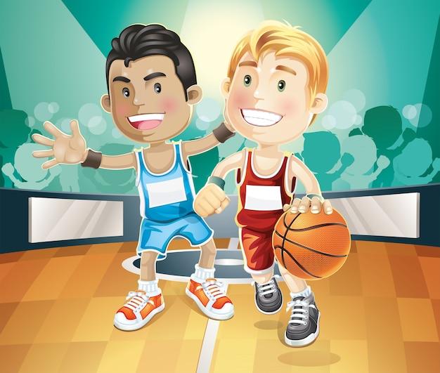Crianças, basquetebol jogo, ligado, indoor, corte