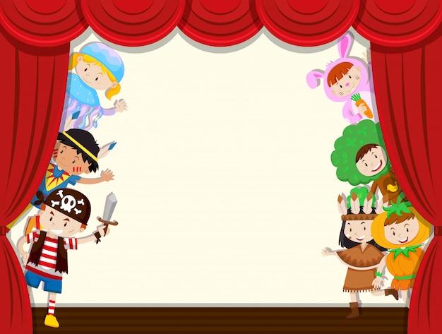 Crianças behide cortina desempenho escolar