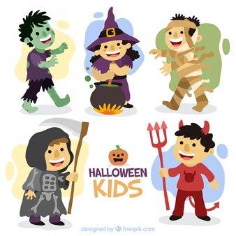 Crianças bom conjunto com trajes de halloween desenhados à mão