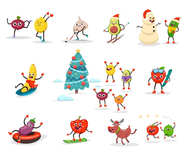 Crianças bonitas de frutas e vegetais estão envolvidas em atividades e esportes de inverno. personagem de desenho animado de comida engraçada, aproveitando as férias de natal. definido em um fundo branco.