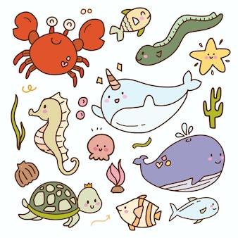 Crianças bonitos adesivo bebê mar animal doodle ícone coleção de desenhos. desenho de baleia caranguejo peixe.