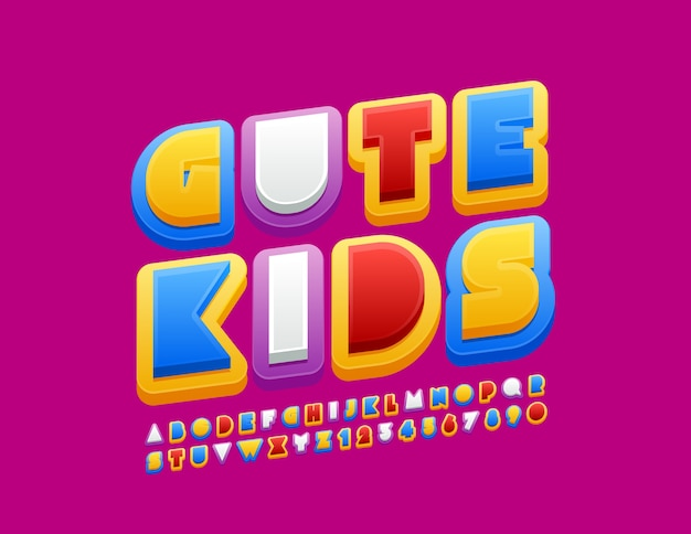 Crianças bonitos do logotipo colorido. letras e números do alfabeto original.